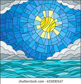 Illustration in stained glass style with sea landscape, sea, cloud, sky and sun