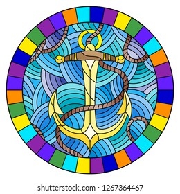 Illustration in stained glass style with ship anchor and rope on the background of waves, round image in bright frame