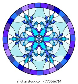 Illustration in stained glass style with snowflake in blue colors in a frame ,round image