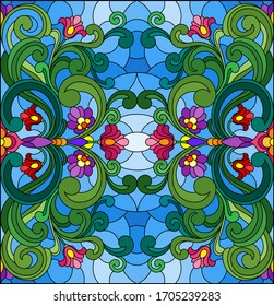 Illustration in stained glass style, square mirror image with floral ornaments and swirls, square image