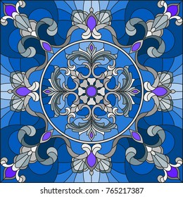 Illustration in stained glass style, square mirror image with silver  floral ornaments and swirls n a blue  background