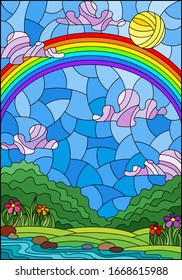 Illustration in stained glass style with a summer landscape , a rainbow against a Sunny sky, flowers and a stream
