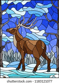 Illustration in stained glass style with wild deer on the background of trees, mountains , snow and sky