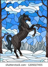Illustration in stained glass style with wild horse on the background of trees, mountains and sky,winter landscape