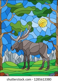 Illustration in stained glass style with wild moose on the background of trees, mountains and sky