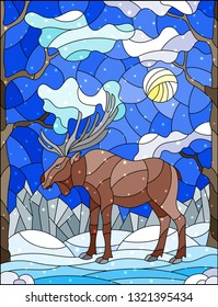 Illustration in stained glass style with wild moose on the background of trees, mountains , snow and sky