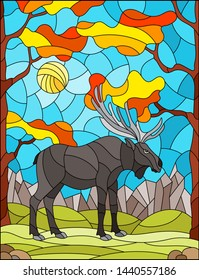 Illustration in stained glass style with wild moose on the background of autumn trees, mountains and sky