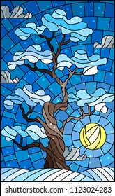 Illustration in stained glass style with winter tree on sky background with sun and  snow