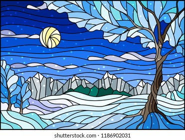 Illustration in stained glass style with winter landscape,  tree on mountain landscape and Sunny sky and snow background