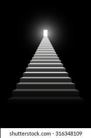 Illustration of a stairway to a bright door