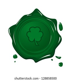 Illustration stamp with clover for Saint Patrick day - vector