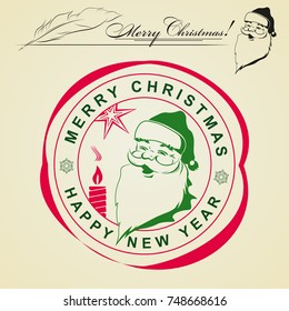 Illustration of a stamp, imprint of the silhouette of a merry Santa Claus with a candle of red and green shades
