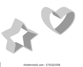 Illustration of a star and heart cookie cutter