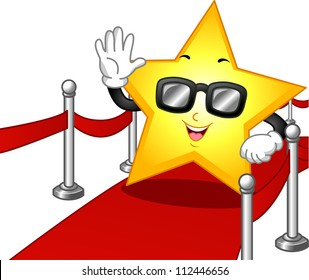 Illustration of a Star Mascot Wearing Dark Glasses While Walking on the Red Carpet