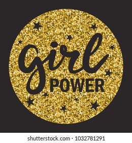 Illustration with stars and english text, hand drawn colorful card. Girl power, bachelorette, ladies, poster design. Decorative background vector, hen-party. Black and gold backdrop. Feminism