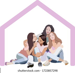 "illustration of ""stay home"" of three daughters with mom on self quarantine, sketch vector graphic color illustration on white background"