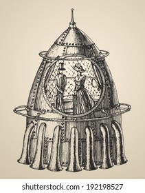 Illustration of a steam punk rocket ship in a vintage retro style, hand drawn