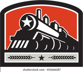 Illustration of a steam train locomotive viewed from front set inside shield crest with star and leaves done in retro style.