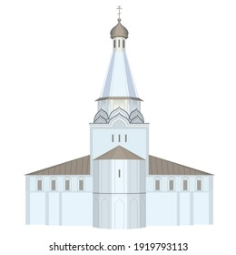 Illustration of a steeple topped by a spire.
