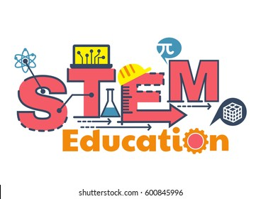Illustration of STEM education word typography design.- science, technology, engineering, mathematics with icons ornament elements