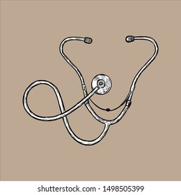 Illustration of Stethoscope. Hand drawn. Vintage Style - Vector