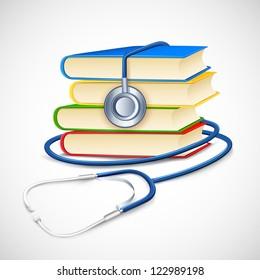 illustration of stethoscope on pile of medical book