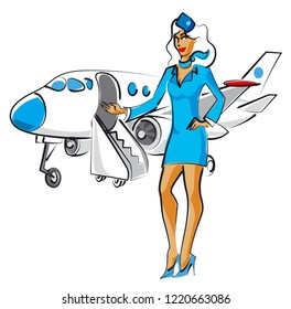 illustration of stewardess with passenger airplane