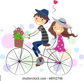 Illustration of a Stick Figure Couple on a Bike