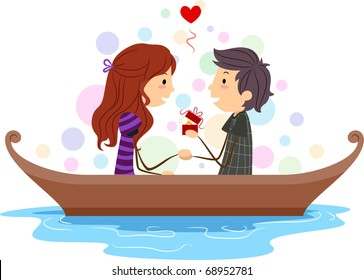 Illustration of a Stick Figure Guy Proposing to His Girl