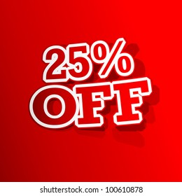 illustration of sticker of 25 percent off tag in paper cut out