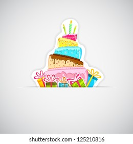 illustration of sticker of cake with colorful gift boxes on white background