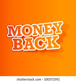 illustration of sticker of money back tag in paper cut out