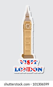 illustration of sticker of visit London with Big Ben Tower