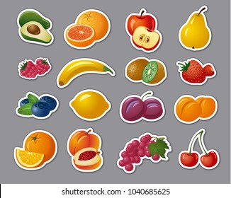 illustration of stickers of fresh fruits and berries