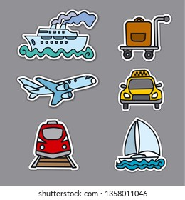 illustration of stickers of travek transport, car, train, cruise ship and airplane