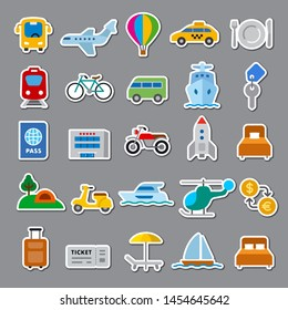 illustration of the stickers for travel, resort and transport for journey