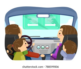 Illustration of Stickman Family in the Car. The Father Driving and the Mother Teaching Kids About Direction Sign