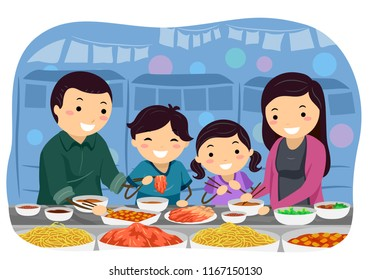 Illustration of a Stickman Family Eating and Trying Out Different Foods From a Korean Market Stall