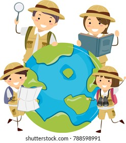 Illustration of Stickman Family Explorer Around a Globe