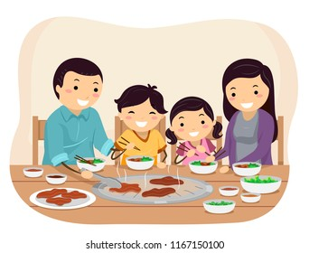 Illustration of Stickman Family Grilling Barbecue On Their Table in a Restaurant