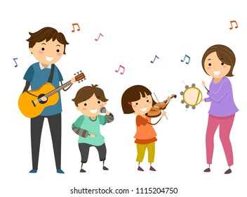Illustration of Stickman Family Holding a Guitar, Microphone, Violin and Tambourine