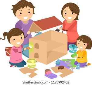 Illustration of Stickman Family with Kid Girls Making a Doll House from Cardboard and Paint