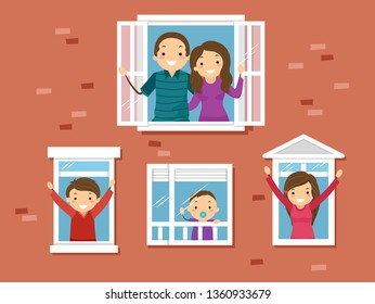 Illustration of a Stickman Family Looking Out the Window and Waving from their Home