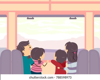 Illustration of Stickman Family Looking Out at a Window from a Train