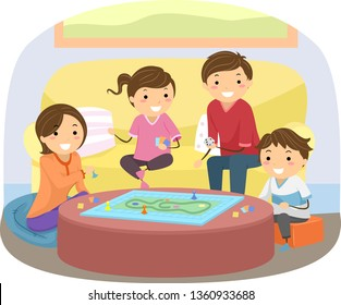 Illustration of Stickman Family Playing Board Game in their Living Room at Home