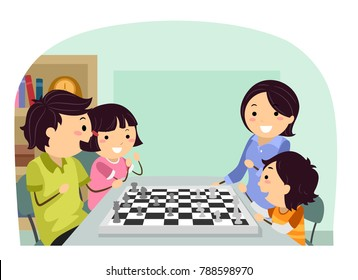 Illustration of Stickman Family Playing Chess at Home