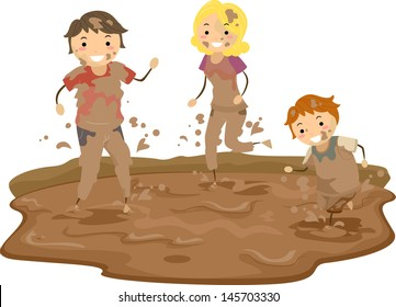 Illustration of Stickman Family Playing in the Mud