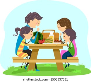 Illustration of Stickman Family Praying Before Eating While Having a Picnic on a Bench