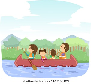 Illustration of Stickman Family Riding the Canoe and Enjoying Outdoors