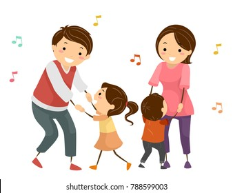 Illustration of Stickman Family Surrounded by Music Notes Dancing in Pair